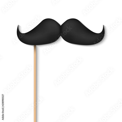 Fototapeta Creative vector illustration of realistic black mustaches on plastic stick isolated on transparent background. Retro vintage art design. Fashionable old facial hair. Abstract concept graphic element obraz na płótnie