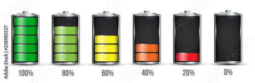 Creative vector illustration of 3d different charging status battery load isolated on transparent background Fotobehang