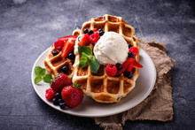Belgium Waffles With Berries A...