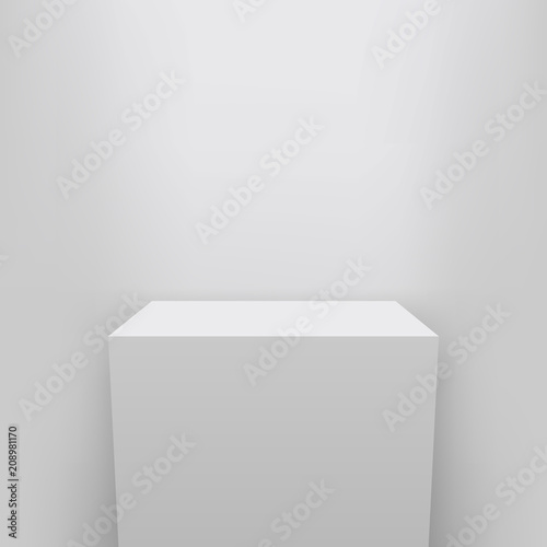 Creative vector illustration of museum pedestal, stage, 3d podium set isolated on transparent background Canvas Print