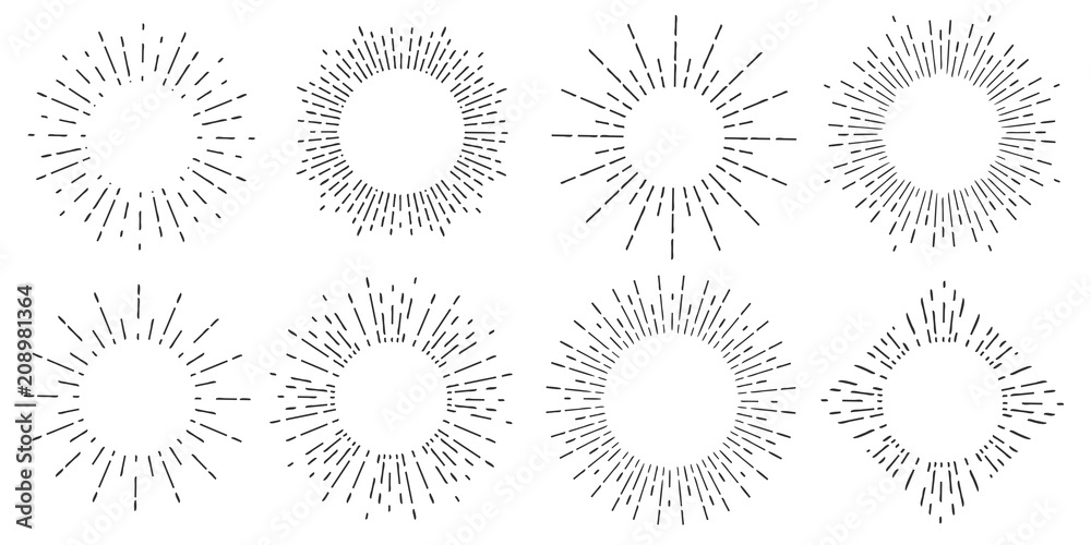 Fototapety, obrazy: Creative vector illustration of geometric hand drawn sun beams isolated on background. Art design linear sunlight waves, shining lines ray stars. Abstract concept graphic round or circle form element