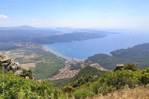 Fotografie, Tablou  Akyaka cityscape from sakartepe with aegean sea and mountains