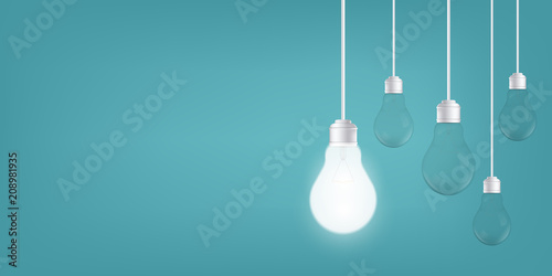 Photographie  Creative vector of isolated light bulbs on background