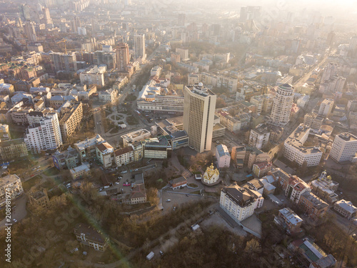 Fotobehang Historisch geb. Panoramic aerial view from the drone, a view of the bird's eye view of the the central part of the city of Kiev, Ukraine, the old buildings of the city.