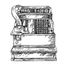 Vintage Cash Register. Sketch....