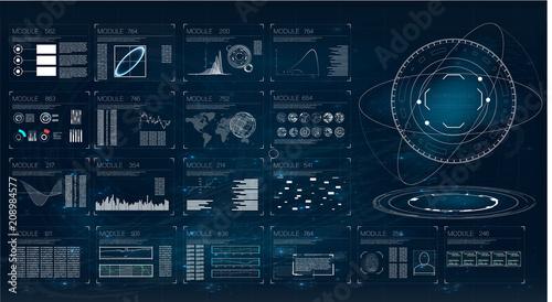 Fototapeta Hud. Illustration with hud for game background design. Digital data, business abstract background. Hud ui. obraz