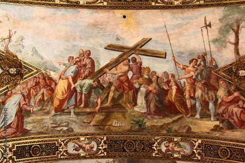 la prova della vera Croce; affresco dei Carlone nella chiesa di Sant'Antonio a M Canvas Print