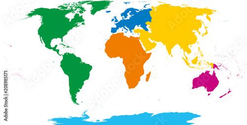 Fotografie, Obraz  Six continents, world map