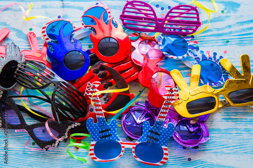 1e24164f14d Set of colorful party sunglasses icons. Funny fashion glasses accessories.  Collection of colorful sunglasses