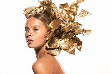 Woman With Gold Leaves