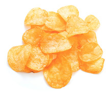 Heap Of Fresh Potato Chips Isolated On White Background