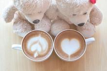 Top Viwe Of Two Teddy Bears An...