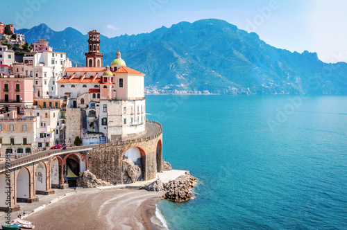 Ingelijste posters Kust The scenic village of Atrani, Amalfi Coast