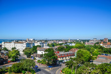 Elevated View Of Bournemouth Town Centre Against Blue Sky. Dorset, United Kingdom