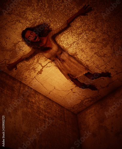 Photo 3d illustration of ghost woman crawling on the wall in haunted house