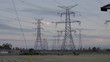 High voltage electrical power towers.