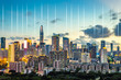 Shenzhen city skyline and concept of network data