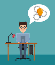 Businessman Seated At Office Working With Computer Vector Illustration Graphic Design