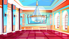 Ballroom With Big Chandelier Vector Illustration Of Palace Hall With Columns And Tile Floor. Flat Cartoon Royal Ball Room Interior Background With Candelabra Lamps On Pillars, Mirror And Benches