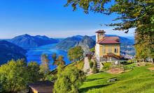 Blick Vom Monte Bre Auf Luganer See Und Den Monte San Salvatore, Schweiz - View From Monte Bre To Lake Lugano And Monte San Salvatore