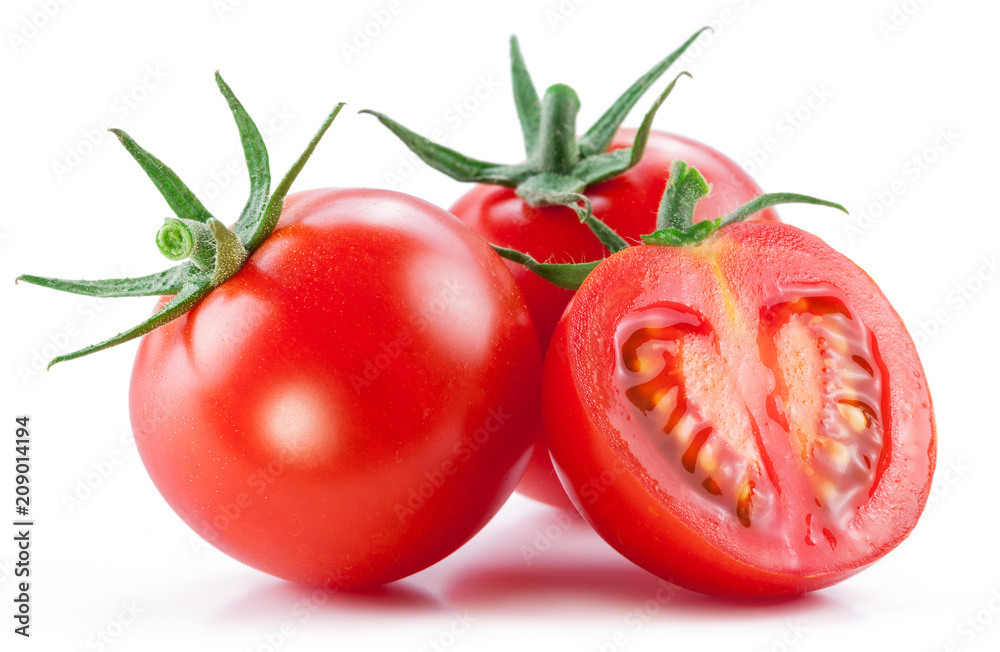 Fototapety, obrazy: Two cherry tomatoes and a cross section of tomato. White background.