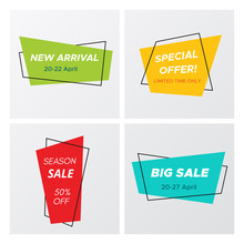 Set Of Flat Abstract Sale Banner In Modern Style. Minimal Vintage Design Rectangle Sign Template With Promo Offer Title In Bright Colors. Vector Illustration With Sale Tags For Marketing Print.