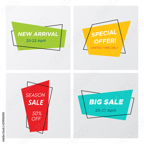 Fotografie, Obraz  Set of flat abstract sale banner in modern style