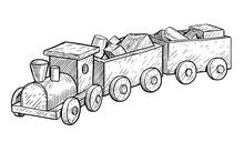 Wooden Toy Train Illustration,...