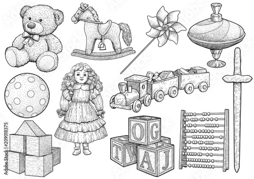 Children toy collection, illustration, drawing, engraving, ink, line art, vector Fototapeta