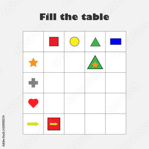 fill the table with different colorful geometric shapes for children