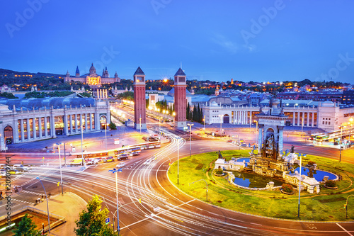 Barcelona, Spain, Europe. Majestic dusk view on Espana square in Barcelona central city part. Picturesque evening scene. Local name Placa Espanya - Famous and extremely popular travel destination.