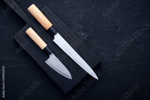Asian kitchen chef accessories on black stone table