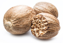 Dried Seeds Of Fragrant Nutmeg  Isolated On White Background.
