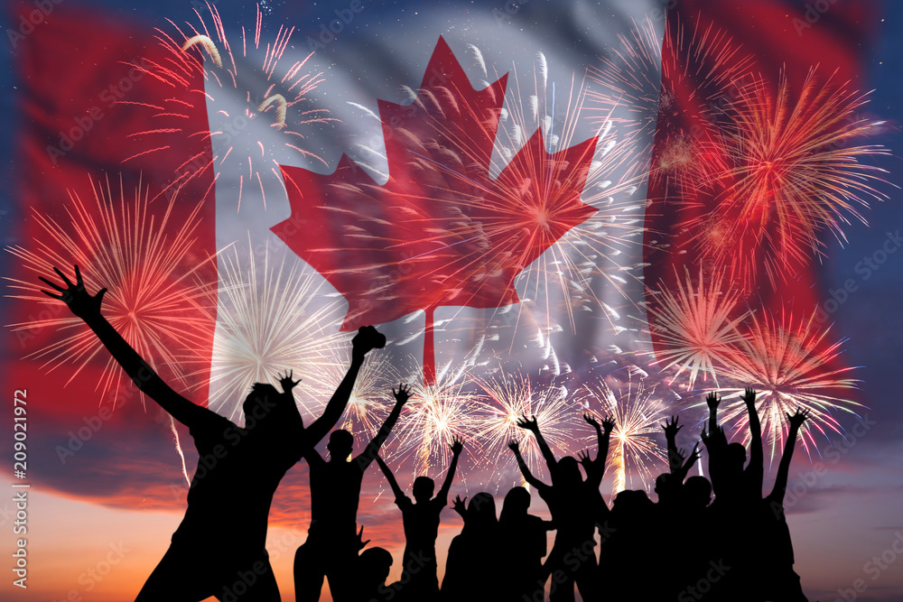 Fototapety, obrazy: Fireworks on day of Canada