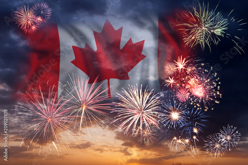 Spoed Foto op Canvas Canada Holiday fireworks on day of Canada