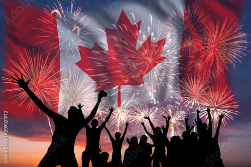 Stickers pour porte Canada Fireworks on day of Canada