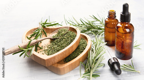 Poster Aromatische Natural rosemary essential oil