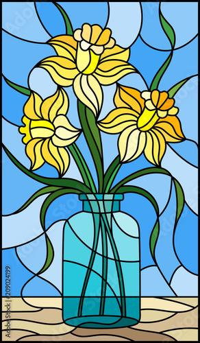 ilustracja-w-witrazu-stylu-z-spokojnym-zyciem-bukiet-zolty-daffodil-wewnatrz