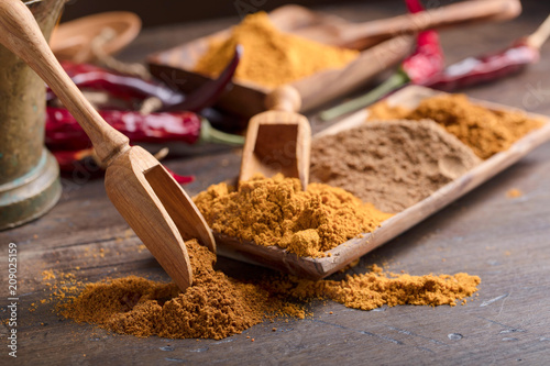 In de dag Aromatische Various Indian spices with wooden spoons on a wooden table.