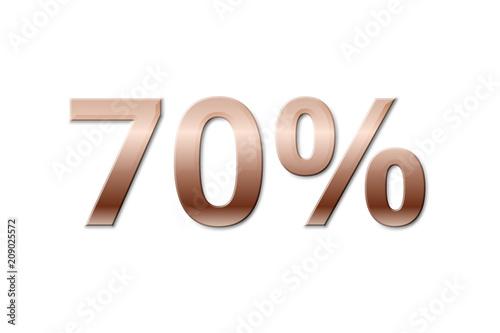 70 % - seventy copper-coloured percent on white background Poster