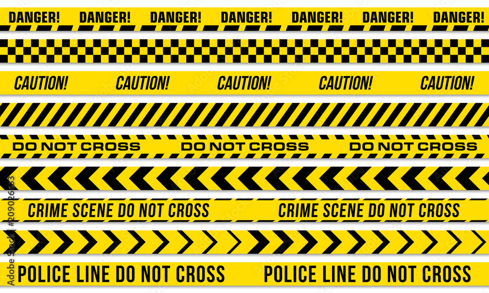 Fototapeta Black and yellow stripes vector police tape