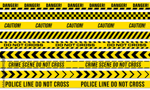 Leinwand Poster Black and yellow stripes vector police tape