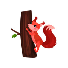 Cartoon Squirrel Climbing Up Tree Trunk. Small Forest Rodent With Red Fur, Fluffy Tail And Cute Muzzle. Flat Vector Element For Children Book