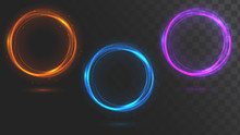 Set Of Glowing Circles. Round ...