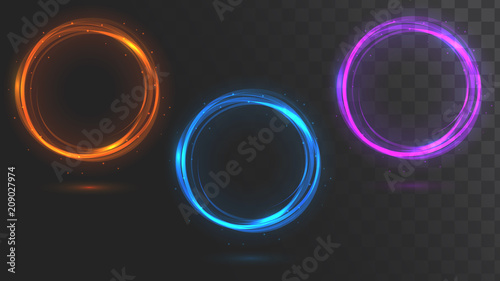 Fotografia Set of glowing circles. Round frames