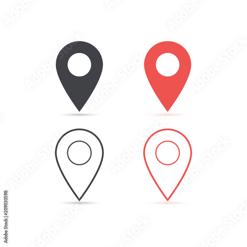 Leinwanddruck Bild - Andreka_1 : Map location red and red icon isolated with soft shadow. Element for design ui app website interface. Blank template. Location pin