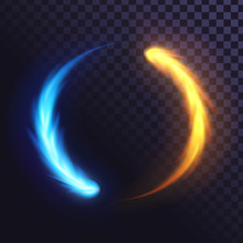 Ring Of Blue And Yellow Flame, Fiery, Round Frame Of Blue Fire. Fire And Ice