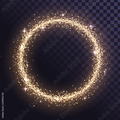Valokuva Round glitter frame of gold dust or stars