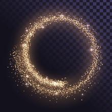 Round Glitter Frame Of Gold Du...