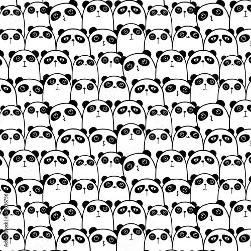 Cute Panda Vector Pattern Background. Vector Illustration. Canvas Print